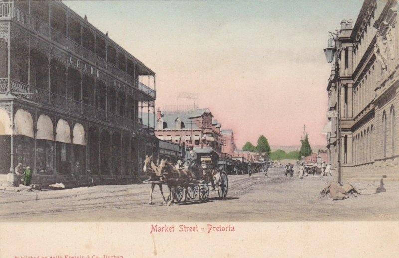 South Africa Pretoria Horse and Carriage On Market Street sk1943a
