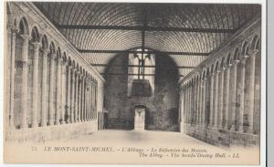 France; Mont St Michel, Monks Refectory PPC, Levy, LL 73, Unposted, c 1920's