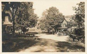 Putnam NY Dirt Road Horse & Buggies Real Photo Postcard
