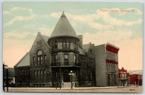 Quincy Illinois~Conical Tower Over Door @ Public Library~Bldgs w/Billboards~1910
