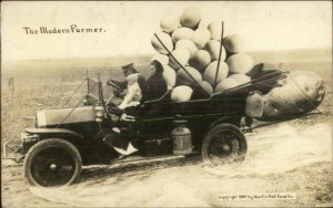 Trick Photography Exaggeration Old Card Piled w/ Giant Eggs MODERN FARMER RPPC