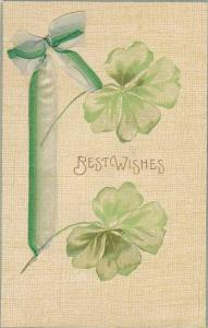 Greetings, Best Wishes, Attached Green Ribbon, 1900-1910s