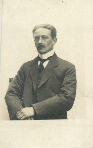 Postcard vintage elegant black-tie costume gentleman moustache