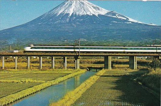 Japan Osaka Bullet Train Passing Mount Fuji