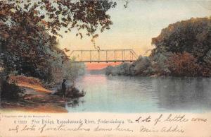 Fredericksburg Virginia Rappahannock River Free Bridge Vintage Postcard JE228487