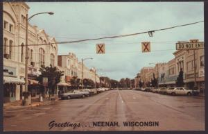 Street Scene,Greetings From Neenah,WI Postcard