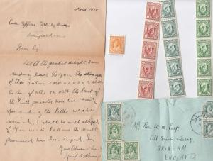Jordan Isreal 16 x Mint Stamps 3x Strips Letter From 1938 Owner