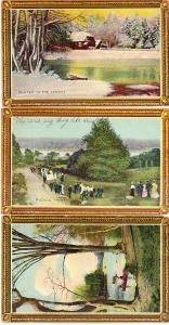 Three Framed Scenes Post Cards
