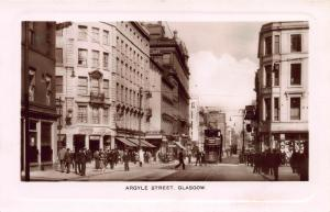 Argyle Street, Glasgow, Scotland, Early Real Photo Postcard, Unused