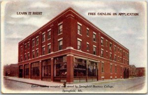 Springfield, Missouri Postcard SPRINGFIELD BUSINESS COLLEGE Street View c1930s