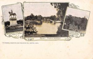 Boston Massachusetts~State House on Hill~Pond~Statue~1905 Art Nouveau Postcard