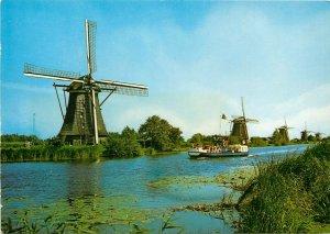 Dutch windmills Kinderdijk Euromodet Rotterdam label see back postcard
