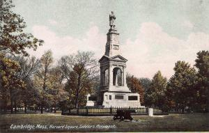 Soldier's Monument, Harvard Square, Cambridge, MA, Early Postcard, Unused