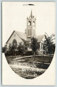North English Iowa~Methodist Episcopal ME Church~Rutted Dirt Road~c1910 RPPC