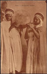 Native Arab Musicians with Drum and Flute, Instruments (1920s)