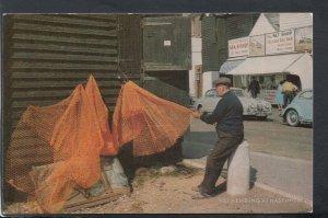 Sussex Postcard - Fisherman Net Mending at Hastings    RS19906