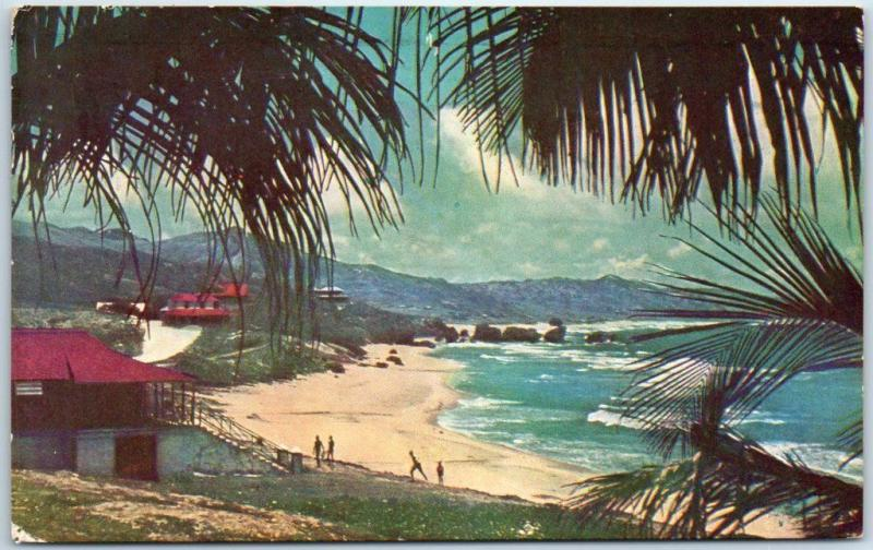 Barbados B.W.I. Postcard Sandy Beach on Bathsheba Coast 1952 Cancel & 2 Stamps