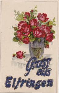 FLOWERS; Gruss Aus Elfringen, Vase of Red Roses, Glitter detail, PU-1918