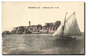 Old Postcard Chateau d'If Marseille Boat