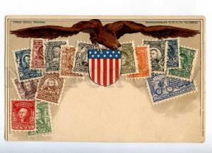 231913 USA Coat of arms STAMPS Vintage embossed Zieher PC