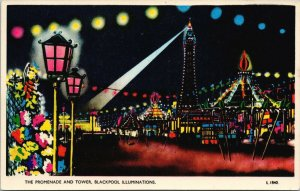 Promenade & Tower Blackpool Illuminations England Unused Valcolour Postcard F61