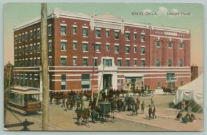 Enid Oklahoma~Lowen Hotel Plastered With Posters~Crowd by Tent~Trolley~c1910 PC