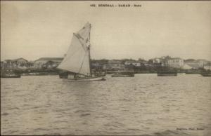 Dakar Senegal West Africa Rade Shore & Sailboat c1900 Postcard