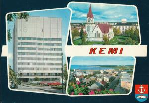 Finland Kemi town hall church view over the town postcard