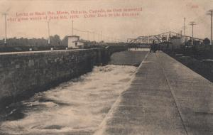 SAULTE STE MARIE, Ontario,  Locks after wreck of June 1909, Coffer Dam