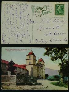 Santa Barbara Mission-California, Keswick ont  1916 corner