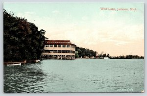 Jackson Michigan~Wolf Lake Pavilion Over Water~Boat House~1910 Postcard