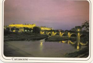 BF21927 carcassonne crepuscule sur le pont et la cite  france  front/back image