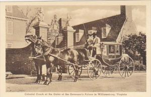 Colonial Coach At The Gates Of The Governor's Palace in Williamburg Virginia