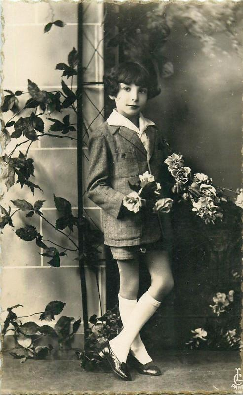 Children topic vintage postcard charming girl with roses portrait real photo pc