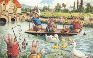 Fun on the River by Racey Helps antropomorphic rabbits boat fantasy postcard