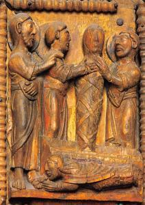 Koeln St. Maria im Kapitol Auferweckung des Lazarus Holtztur