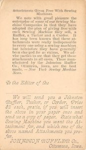 Advertising Post Card Johnson Ruffler Co Ottumwa, IA, USA Writing on back
