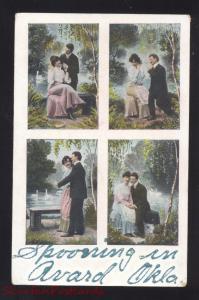 SPOONING IN AVARD OKLAHOMA LOVERS ANTIQUE VINTAGE POSTCARD