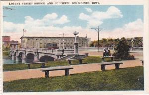Iowa Des Moines Trolley On Locust Street Bridge and Coliseum