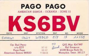 KS6BV, Pago Pago American Samoa - Oceania - Zone 32, 30-50s