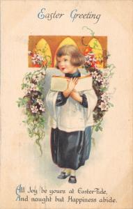Clapsaddle Easter~Choir Boy in Robe Holds Book~Walks Between Flowers~Wolf & Co