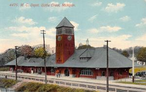 Battle Creek Michigan MC Depot Birdseye View Antique Postcard K32548