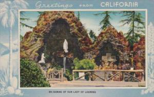 Greetings From California Altadena Shrine Of Our Lay Of Lourdes Blue Border