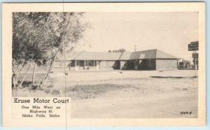 IDAHO FALLS, ID   Roadside KRUSE MOTOR COURT ca 1940s Bonneville County Postcard