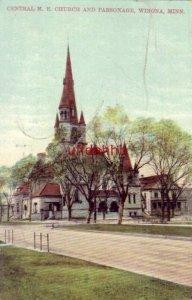 CENTRAL M. E. CHURCH AND PARSONAGE. WINONA, MN The Gate City 1908