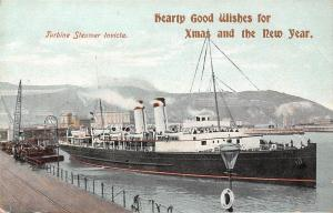 Turbine Steamer Invicta, Hearty Good Wishes, Xmas, New York, Ship