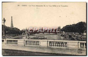 Postcard Old Paris Pont Alexandre III Eiffel Tower and the Trocadero