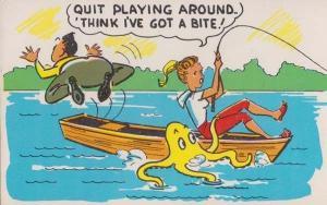 Octopus Fishing Man Falls Off Boat Rod Lake Rowing Comic Humour Postcard