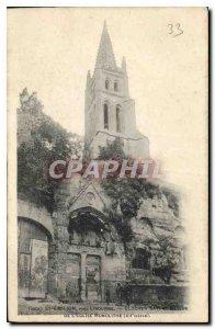 Postcard Old St Emilion Libourne near Belfry Bat above the monolithic church ...