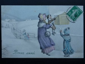 French New Year Greeting BONNE ANNÉE c1913 Postcard by V.K. of Vienne